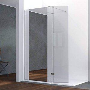 Paroi de douche fixe avec retour 8 mm BAYA - 100+40 cm et miroir de la marque UneSalleDeBain image 0 produit