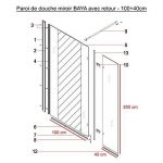 Paroi de douche fixe avec retour 8 mm BAYA - 100+40 cm et miroir de la marque UneSalleDeBain image 4 produit
