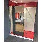 Paroi de douche fixe avec retour 8 mm BAYA - 120+40 cm et miroir de la marque UneSalleDeBain image 3 produit