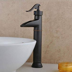 QER-Robinets de lavabo Robinets de lavabo robinet mixte robinet baignoire bassin cascade Bassin bronze noir Robinet eau chaude/eau froide mitigeur de la marque Mélangeur de lavabo image 0 produit