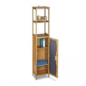 Relaxdays Armoire de salle de bain étagère rangement avec porte 2 tablettes réglables en bois de bambou colonne avec 6 étages HxlxP: 170 x 33,5 x 28 cm pour serviettes accessoires de douche, nature de la marque Relaxdays image 0 produit