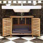 Relaxdays Meuble dessous de lavabo ou évier salle de bain en bois de noyer HxlxP: 61x 66 x 29 cm armoire robuste et résistante, nature de la marque Relaxdays image 1 produit