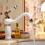 Robinet de cuivre européen chaud et froid doré peinture rétro bleu et blanc porcelaine salle de bains lavabo robinet de la marque B&L image 2 produit