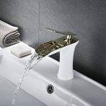 robinet mitigeur lavabo cascade robinetterie monotrou pour salle de bains, poli doré et blanc de la marque kelelife image 2 produit