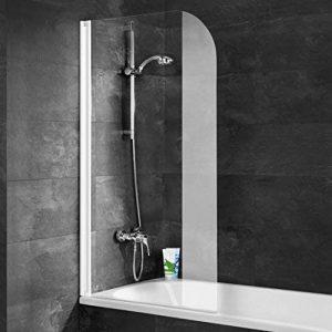 Schulte 4060991005459 pare-baignoire rabattable, paroi de baignoire réversible, 1 volet pivotant, verre transparent, profilé blanc, 80x140 cm de la marque Schulte image 0 produit