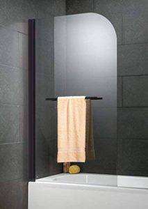 Schulte pare-baignoire pivotant anti calcaire, 80x140 cm, paroi de baignoire rabattable avec porte-serviette, écran de baignoire 1 volet, verre transparent, profilé noir de la marque Schulte image 0 produit