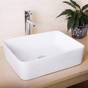 Seasofbeauty Luxueuse Vasque à Poser en Céramique Lavabo Rectangulaire Blanche (48x38x13 cm) de la marque Seasofbeauty image 0 produit
