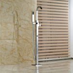 Senlesen sur pied de sol robinet pour baignoire monté robinet mitigeur avec pommeau de douche, finition chrome de la marque Senlesen image 3 produit