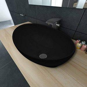 SENLUOWX Luxueuse Vasque à Poser en céramique avec Ovale Noire 40 x 33 cm de la marque SENLUOWX image 0 produit