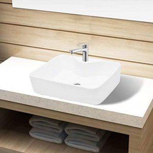 SENLUOWX Vasque carré à trou pour robinet céramique avec Blanc pour salle de bain de la marque SENLUOWX image 0 produit