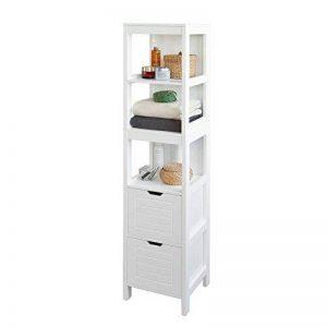 SoBuy® FRG126-W Meuble Colonne de Salle de Bain Armoire Toilette Haute – 4 étagères et 2 tiroirs- Blanc de la marque SoBuy image 0 produit