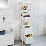 SoBuy® FRG126-W Meuble Colonne de Salle de Bain Armoire Toilette Haute – 4 étagères et 2 tiroirs- Blanc de la marque SoBuy image 1 produit