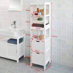 SoBuy® FRG126-W Meuble Colonne de Salle de Bain Armoire Toilette Haute – 4 étagères et 2 tiroirs- Blanc de la marque SoBuy image 2 produit