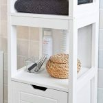SoBuy® FRG126-W Meuble Colonne de Salle de Bain Armoire Toilette Haute – 4 étagères et 2 tiroirs- Blanc de la marque SoBuy image 3 produit