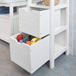 SoBuy® FRG126-W Meuble Colonne de Salle de Bain Armoire Toilette Haute – 4 étagères et 2 tiroirs- Blanc de la marque SoBuy image 4 produit