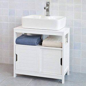 SoBuy® FRG128-W Meuble sous-Lavabo Meuble de Salle de Bain Vasque - 1 étage et 2 Portes coulissantes -Blanc de la marque SoBuy image 0 produit
