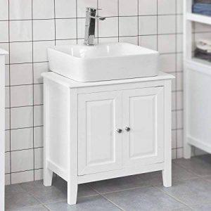 SoBuy® FRG202-W Meuble sous-Lavabo Dessous de lavabo ou Evier Meuble de Salle de Bain Vasque à 2 étages et 2 Portes -Blanc de la marque SoBuy image 0 produit