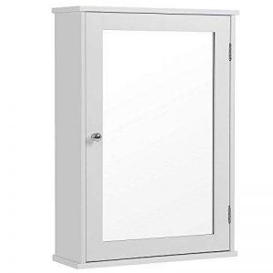 SONGMICS Meuble à Miroir 1 Porte Amoire de Salle de Bain Meuble Mural avec étagère Style Cottage Blanc Dimensions 41 x 14 x 60 cm (L x l x H) LHC001 de la marque SONGMICS image 0 produit