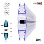 STEIGNER Kit de Joints Magnétiques pour les Vitres d'une Épaisseur 3,5 mm/4 mm/5 mm UKM01 180° 201 cm, 2 piéces de la marque STEIGNER image 1 produit