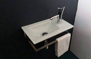 Support Inox avec Lave-mains en verre extra-clair laqué blanc Cm 47 de la marque BATHROOMITALSTYLE image 0 produit