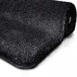 Tapis de bain noir | certifié Oeko-Tex 100 et lavable | poil très doux | plusieurs tailles au choix - 50x60cm de la marque casa pura image 0 produit