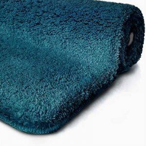 Tapis de bain turquoise | certifié Oeko-Tex 100 et lavable | poil très doux | plusieurs tailles au choix - 50x60cm de la marque casa pura image 0 produit