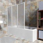 TecTake Pare-baignoire portes coulissantes à 3 panneaux blanc - diverses tailles - (132x140cm | No. 402751) de la marque TecTake image 2 produit