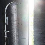 TecTake Système de douche à effet pluie et douchette à main   Pommeau de douche effet pluie à 100 buses   Tête de douche à articulation sphérique de la marque TecTake image 1 produit