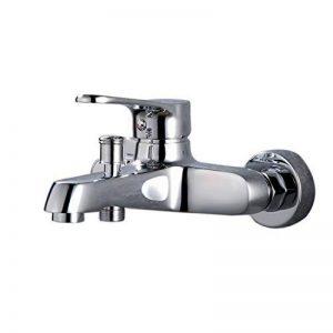 Thinkels-tech de douche ou de baignoire classique Poignée simple Robinets d'eau chaude et froide Lavabo 2sorties de salle de bain Levier robinet, Chrome de la marque THINKELS-TECH image 0 produit