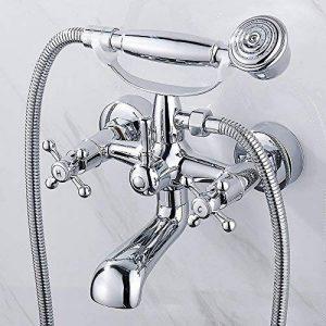 traditionnel Mélangeur bain/douche Poignée Croix Mitigeur de baignoire Robinets Chrome avec douchette support mural de la marque Mald image 0 produit