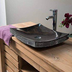 Vasque de salle de bain à poser rectangle 50 cm en pierre marbre GENES noir de la marque wanda collection image 0 produit