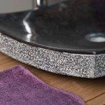 Vasque de salle de bain à poser rectangle 50 cm en pierre marbre GENES noir de la marque wanda collection image 2 produit