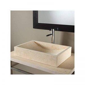 Vasque à poser en pierre naturelle beige rectangulaire de la marque PlaneteBain image 0 produit