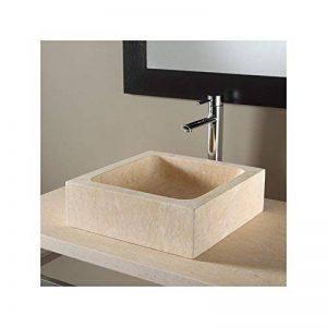 Vasque à poser rectangulaire en pierre naturelle beige égyptien de la marque PlaneteBain image 0 produit
