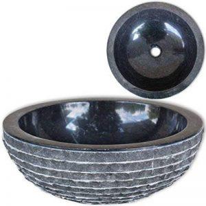 vidaXL Lavabo en marbre 40 cm Noir Vasque à Poser Lave Main Salle de Bain de la marque vidaXL image 0 produit