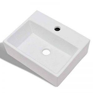 vidaXL Lavobo Vasque carré à Trou Robinet céramique Blanc Salle de Bain de la marque vidaXL image 0 produit