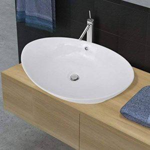 vidaXL Luxueuse vasque céramique ovale avec trop plein 59 x 38,5 cm de la marque vidaXL image 0 produit