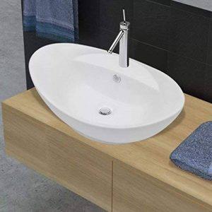 vidaXL Luxueuse vasque céramique ovale avec trop plein de la marque vidaXL image 0 produit