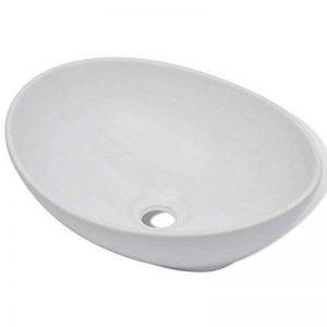 vidaXL Luxueuse Vasque à poser en céramique Ovale Blanche 40 x 33 cm de la marque vidaXL image 0 produit