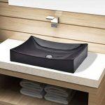 vidaXL Vasque à poser Lavobo Lave-mains rectangulaire Noir céramique pour salle de bain de la marque vidaXL image 1 produit